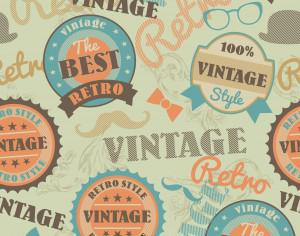 Seamless pattern with retro vintage badges Photoshop brush
