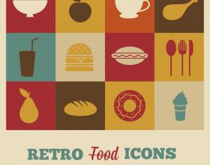 Set of retro food icons Photoshop brush
