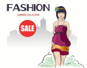 Fashion vector illustration with girl Photoshop brush
