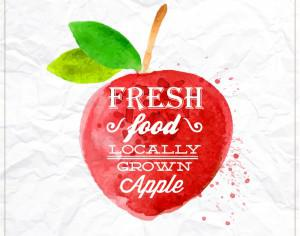 Watercolor apple with typography Photoshop brush