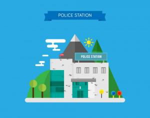 Vector Illustration of a Police Station Photoshop brush