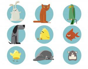Set of vector illustrated animals. For free design Photoshop brush