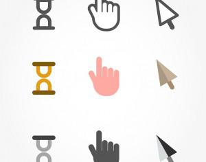 Vector free cursors black clean icons - hand, clock and arrow Photoshop brush