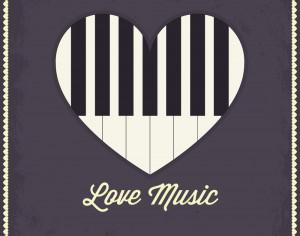 Music illustration with heart and piano keyboard Photoshop brush