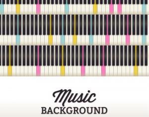 Music illustration with piano keyboard Photoshop brush