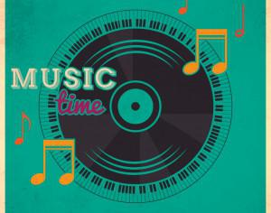 Music illustration with vinyl disk and typography Photoshop brush