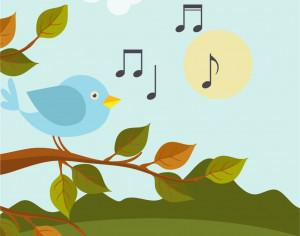 Music illustration with bird  Photoshop brush