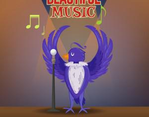 Music illustration with cute bird and typography Photoshop brush