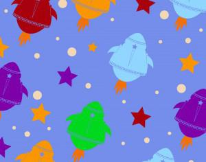 Cute pattern with rocket Photoshop brush