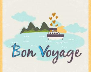 Summer illustration with ship and typography Photoshop brush