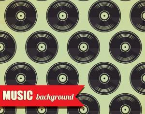 Music pattern with vinyl disk Photoshop brush