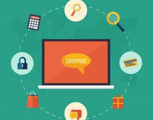 Online shopping flat concept icons Photoshop brush