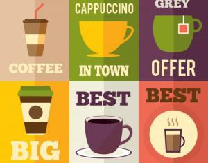 Coffee flat design set of illustrations Photoshop brush
