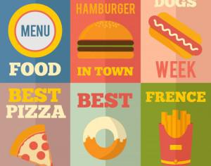 Retro Fast Food Illustrations, Flat Design Concept Photoshop brush