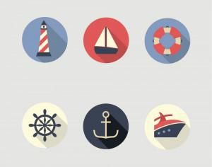 Boat and Sea Icons Photoshop brush
