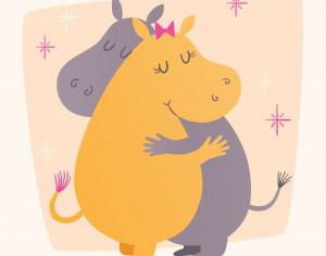 Vector illustration with cute hippos hugging Photoshop brush
