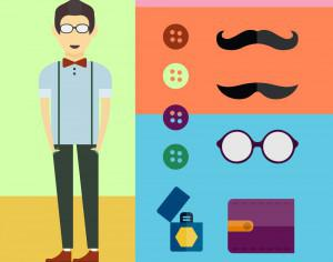 People vector character with tools and objects. Free illustration for design Photoshop brush