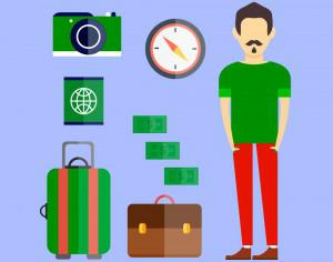 People vector travel character with tools and objects. Free illustration for design Photoshop brush