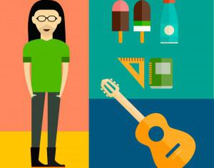 People vector music hero character with tools and objects. Free illustration for design Photoshop brush