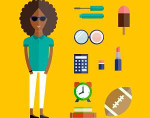 People vector afro girl character with tools and objects. Free illustration for design Photoshop brush