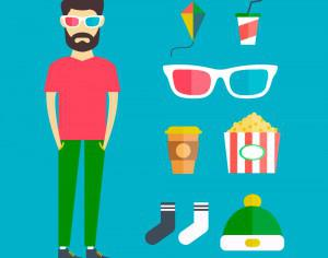 People vector young character with tools and objects. Free illustration for design Photoshop brush