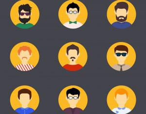 People vector characters with tools and objects. Free illustration for design Photoshop brush
