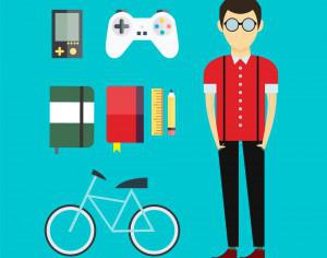 People vector designer character with tools and objects. Free illustration for design Photoshop brush