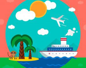 Travel illustration for free graphic design. Simple flat vector Photoshop brush