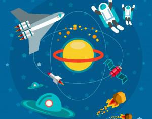 Space world with man and some objects. For free vector design Photoshop brush