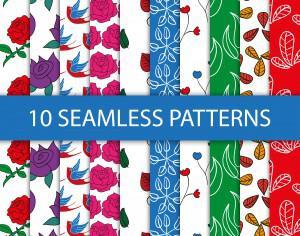Seamless floral patterns Photoshop brush