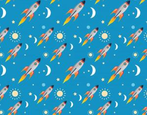 Space rocket pattern Photoshop brush