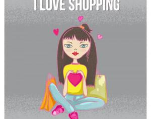 Shopping girl with bags Photoshop brush