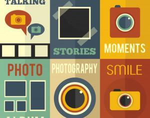 Photography  flat concept cards Photoshop brush