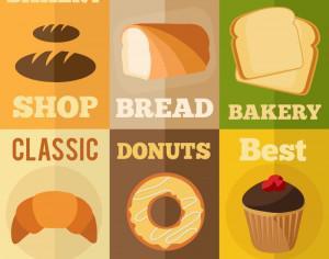 Bakery flat design concepts Photoshop brush