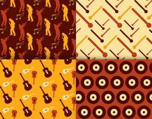 Retro musical patterns set Photoshop brush