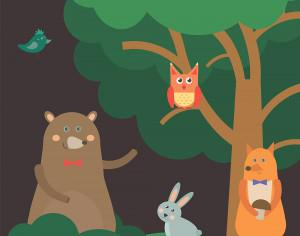 Vector illustration of cute animal at night forest for free vector design Photoshop brush