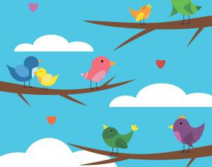 Vector illustration of cute bird set for free vector design Photoshop brush