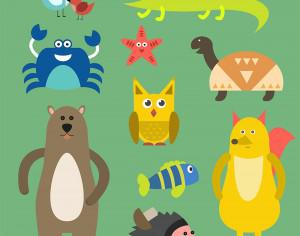 Vector illustration of cute animal set for free vector design Photoshop brush