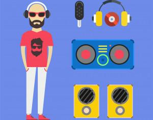 Some DJ man with music tools - vector free illustration Photoshop brush