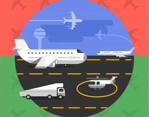 Free vector illustration of airport with planes - travel Photoshop brush