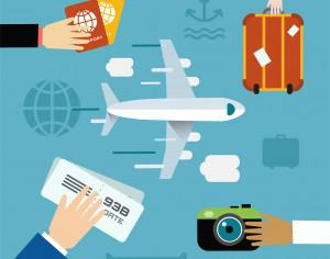 Free vector illustration of airplane flying and some travel tools Photoshop brush