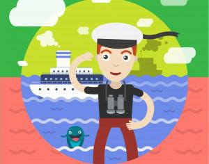 Free vector illustration of sailor and some ship and landscape Photoshop brush