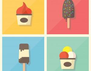 Retro Vintage Flat Ice Cream Collection Photoshop brush