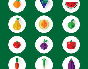 Fruits and vegetables icons Photoshop brush