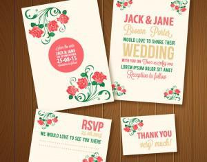 Wedding invitations template Photoshop brush