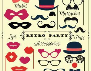 Accessories for fun retro party. Vector illustration Photoshop brush