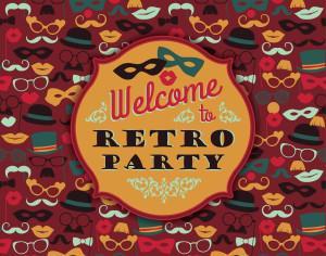 Invitation to fun retro party. Vector illustration. Photoshop brush