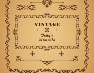 Set of Retro Vintage  Frames and Borders. Design elements. Photoshop brush