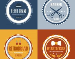 Retro Vintage Insignias or Logotypes set. Photoshop brush