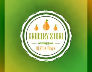 Grocery store label on green blurred background Photoshop brush
